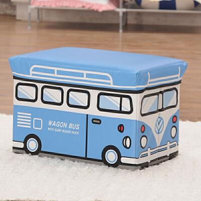 儿童玩具收纳凳储物凳子矮凳脚凳穿鞋凳可坐人衣服收纳箱盒多功能宝宝卡通整理箱储物凳 大号蓝白