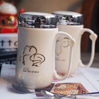 创意十二星座杯子陶瓷带盖勺马克杯喝水杯情侣骨瓷咖啡牛奶杯茶杯