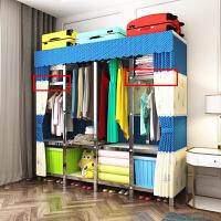 衣柜简易布衣柜加粗加固折叠组装不锈钢钢架挂衣橱双人大号经济型 单门 组装