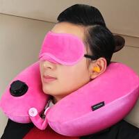旅行三宝套装U型自动充气枕头旅游三件套加便携眼罩耳塞旅行用品 其他