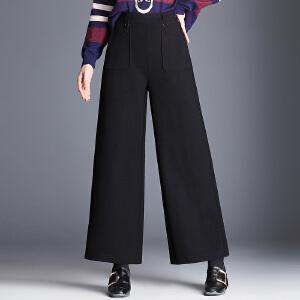 新款呢子阔腿裤女韩国时尚显瘦高腰宽腿大脚毛呢休闲长裤