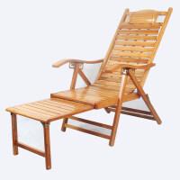 躺椅折叠午休椅靠椅懒人家用竹椅靠背椅现代实木睡椅老人躺椅 加固 宽板加长折椅【送厚坐垫】
