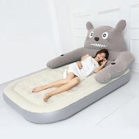 龙猫充气床卡通榻榻米床垫可爱懒人沙发单双人家用气垫床加厚睡垫 灰单床垫 / 没床头2*1.2 送充气 其它