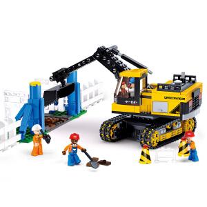 【当当自营】小鲁班工程系列儿童益智拼装积木玩具 履带式挖掘机M38-B0551