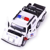 宝思仑仿真六轮悍马警车合金车模型儿童回力声光玩具汽车