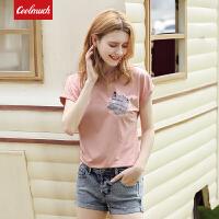 【满100减50/满200减100】Coolmuch女短T2019夏季新款清新简约圆领棉质短袖T恤JW5133