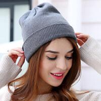 韩系简约保暖修脸保暖毛线帽男女通用纯色百搭针织羊绒帽