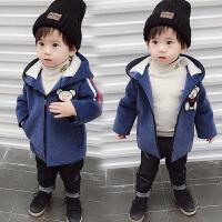 加绒洋气男宝宝厚毛呢外套潮儿童装冬装男童呢子大衣
