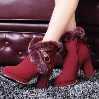 短靴女粗跟高跟女靴子雪地靴2017新款冬季女鞋百搭短筒加绒潮