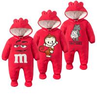 婴儿连体衣服加厚1冬季0岁3个月6宝宝新生儿棉衣季冬装满月
