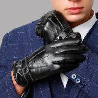 开车薄款触屏手套男士加厚加绒骑行摩托车保暖防风防水皮手套