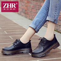 ZHR2017秋季新款季粗跟真皮马丁鞋女韩版休闲鞋厚底女鞋单鞋中跟小皮鞋B09