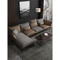 北欧沙发现代简约客厅皮质沙发组合小户型意式极简轻奢风整装家具 组合