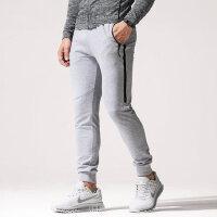 男裤子韩版潮流灰色纯棉修身型卫裤撞色哈伦裤收口运动裤