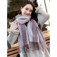 户外运动围巾女韩版百搭长款加厚保暖仿羊绒毛线围脖格子披肩