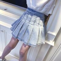 女童半身裙春秋牛仔洋气春装小女孩百褶裙子儿童短裙