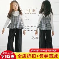 女童套�b2017新款秋�b�n版中大�和��L袖格子吊�ч�腿�����三件套