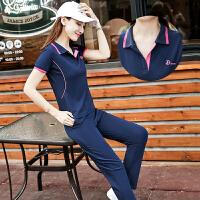 短袖长裤休闲运动套装女2018夏季新款棉POLO上衣T恤跑步两件套