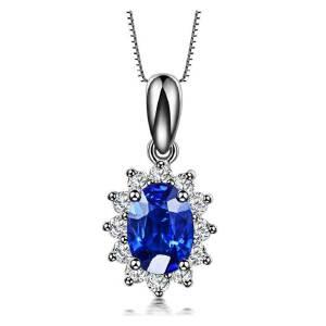 梦 梵雅 钻石项链  彩宝项链 18K金镶钻1克拉天然皇家蓝蓝宝石吊坠