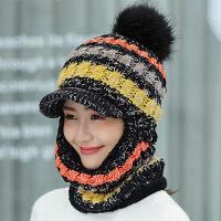 毛线帽子女秋冬天针织帽保暖护脖女士骑车防风护耳帽子加绒连体帽新品 均码有弹性