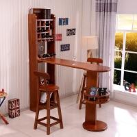 实木吧台桌家用客厅吧台酒柜隔断柜厨房小吧台靠墙玄关柜现代简约 组装 框架结构