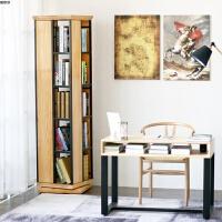 现代简约实木旋转书架办公创意转角书柜客厅置物架书房陈列架具