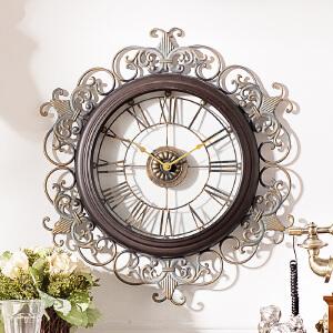 欧美式客厅创意个性墙面装饰钟表 洛可可铁艺雕花挂钟