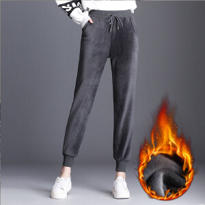 新款双面金丝绒运动裤哈伦裤萝卜裤休闲长裤加绒加厚女裤大码
