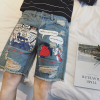 破洞牛仔短裤男五分裤2018夏季日系水洗做旧印花卡通中裤青少年潮