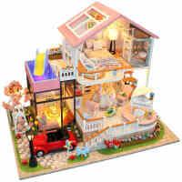 3d立体拼图成人木质玩具房子模型diy益智建筑模型大别墅女孩男孩