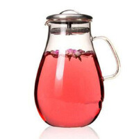 红兔子 1900ml耐热玻璃 花草茶壶水滴果汁壶开水壶 家用凉水壶不锈钢盖花茶壶