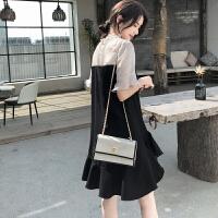 夏季新款点点雪纺拼接黑色鱼尾连衣裙女OL气质显瘦赫本小黑裙