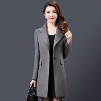 纤纯伊韩版OL气质冬装羊毛大衣女士新款中长款纯色百搭毛呢外套