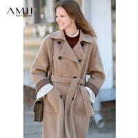 【AMII大牌日折上2件4折】AMII极简北欧阿尔巴卡羊驼毛双面呢大衣女中长款2018冬新呢子外套