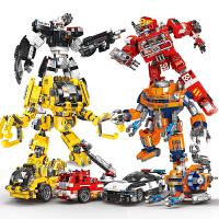 �e木工程救援消防警察�C甲�形�拼�b模型智力玩具