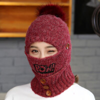 女士帽子韩版加厚时尚针织帽百搭加绒护耳保暖毛线帽女针织帽