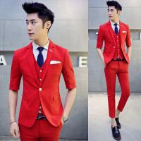 韩版中袖西服套装男青年潮流七分袖西装夏季薄款帅气小西装发型师