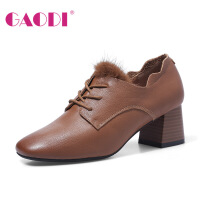 高蒂方头高跟鞋粗跟深口秋季新款单鞋荷叶边系带毛毛真皮中跟女鞋