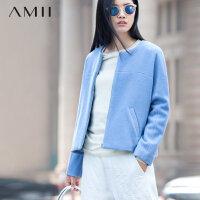 【满200减100上不封顶】Amii[极简主义]冬纯色圆领拉链长袖大码短款毛呢外套11572096