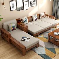 实木沙发组合新中式现代简约小户型客厅整装家具布艺转角储物沙发 组合