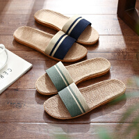 亚麻拖鞋男女夏季情侣居家用室内家居厚底防滑地板男士凉拖鞋夏天