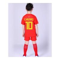 阿根廷法国葡萄牙德国巴西球衣儿童足球服套装男女足球训练服 玫红色 比利时10号阿扎尔
