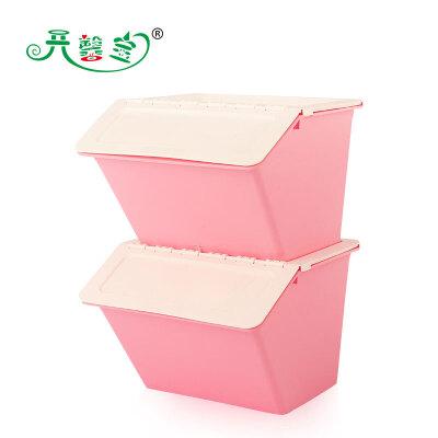开馨宝半掀盖多用收纳箱/整理筐-两个装 粉色(K8121-3)