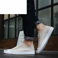 潮牌 休闲鞋 乐福男鞋夏季透气帆布鞋男士鞋韩版一脚蹬亚麻布百搭板鞋潮鞋