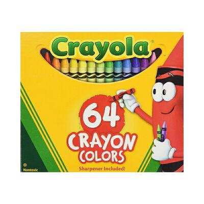 保税区发货 Crayola绘儿乐 64色标准普通蜡笔  2岁以上 海外购 增强色彩 独特创意