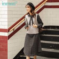 茵曼冬装经典复古格子格纹连衣裙学院风毛衣背心两件套装【F1804543】