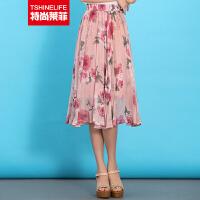 特尚莱菲 春夏新款半身裙子雪纺中长裙玫瑰印花半裙 WWH1508