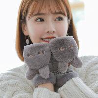 韩版棉加绒加厚毛绒保暖日系学生卡通半指甜美可爱手套女