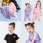 【限时3件3折到手价:59.4】韩都衣舍童装2019夏装新款女童休闲套装儿童中大童短袖裤子两件套