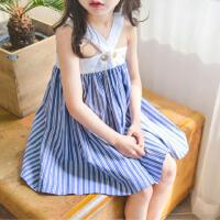 2017夏装新款女童海军风无袖连衣裙中大童吊带公主裙儿童条纹裙子